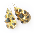 Gold Riddick Earrings Large with Labradorite