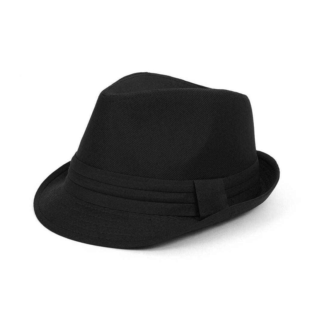 Textured Black Fedora with Band Trim