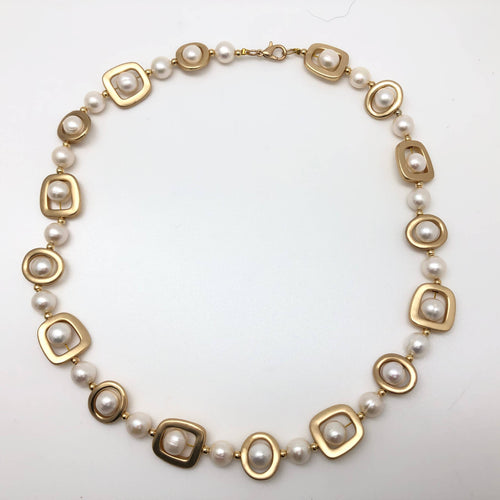 Pearls & Geometric Gold Shapes Necklace
