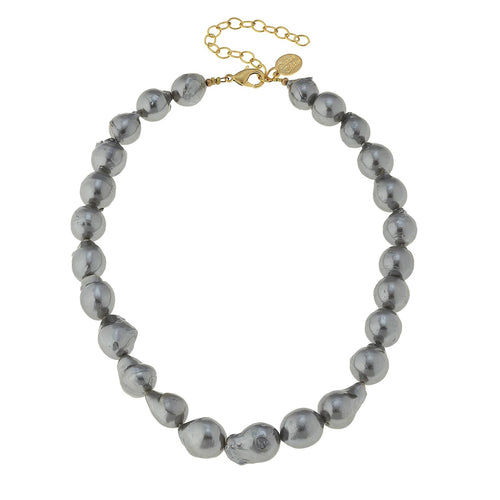 Gold and Large Grey Freshwater Baroque Pearl Necklace