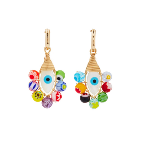 Evil Eye Millefiori Hoops