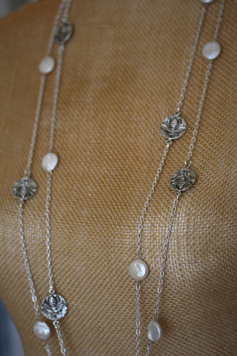Silver Bee and Genuine Freshwater Coin Pearl Necklace