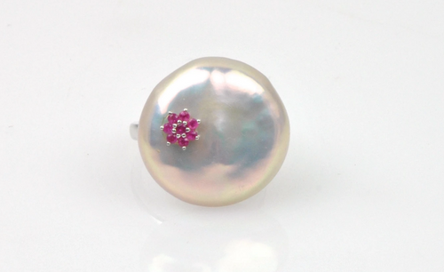 Moon Shaped Pink Pearl and Ruby Ring