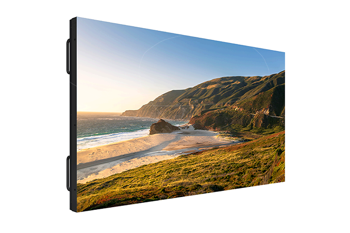 "55"" FHD 700 nit sub-1mm bezel LCD video wall panel with remote power."