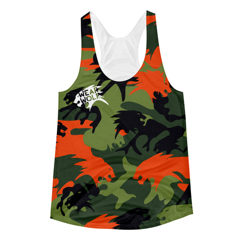 WOMEN'S AGENT ORANGE AOP RAZORBACK TANK