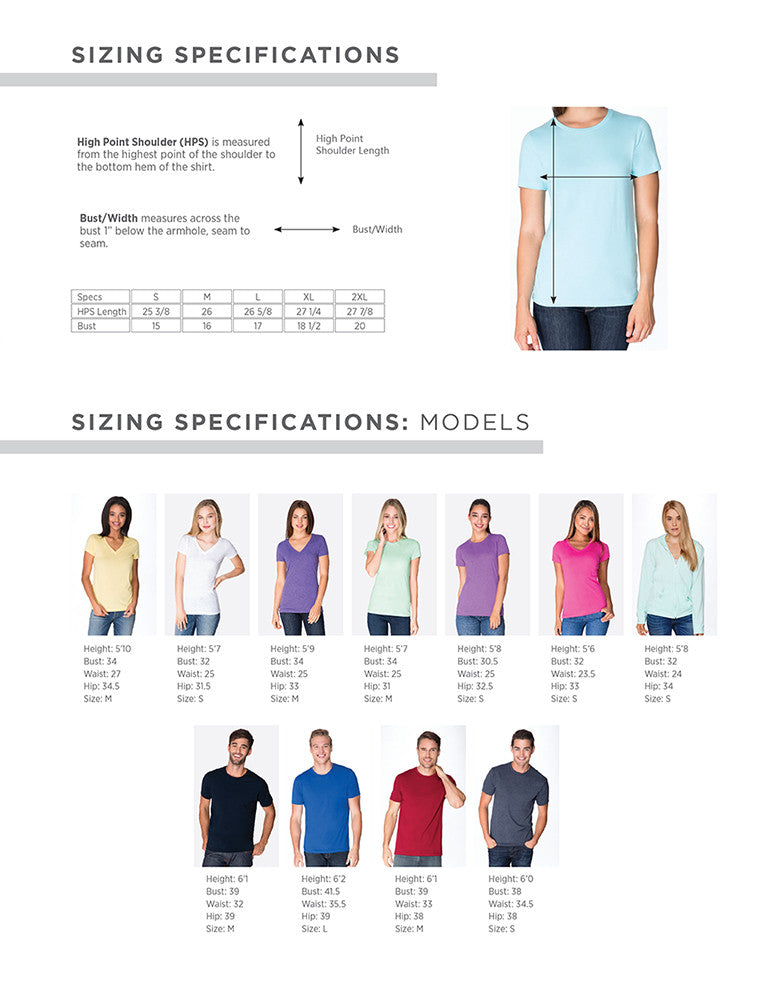 Ex Patriot's Apparel Sizing Chart