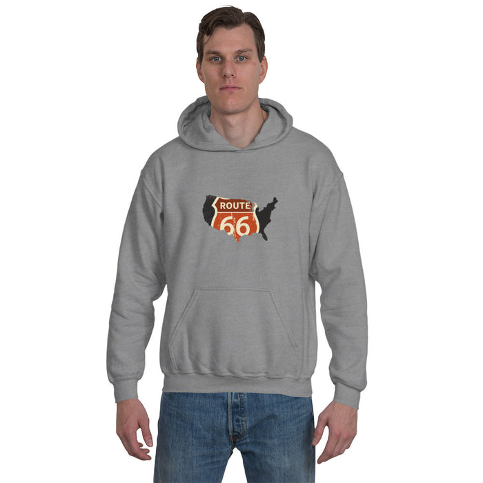 Route 66 / USA Unisex Hoodie in Grey - Ex Patriot's Apparel