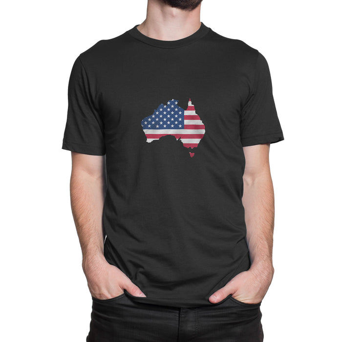 Australia / USA Mens Ex Patriot T Shirt in Black