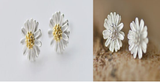 Daisy Flower Sterling Silver Earrings