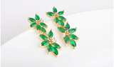 Green CZ Flower Set