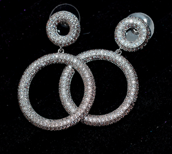 White Gold Plated CZ Circle Earrings