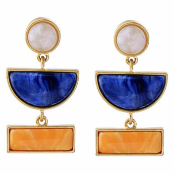Blue Alloy Resin Fashion Statement Earrings