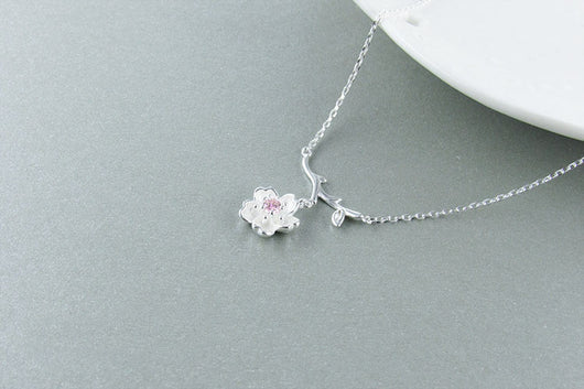 925 Sterling Silver Cherry Blossom Crystal Necklace