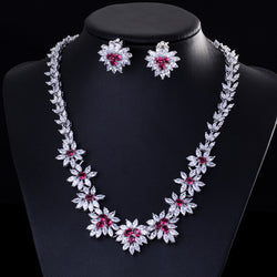 White Gold Plated Flower Earrings And NeckLace  Set