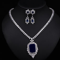 White Gold Plated ,Dark Blue CZ Pendant Necklace