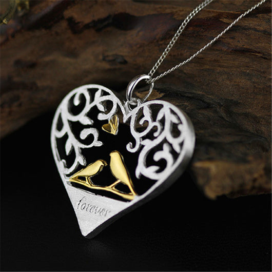 Handmade  Love Birds Heart Necklace