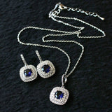 EDD Cubic Zircon Blue Square Pendant Necklace Set