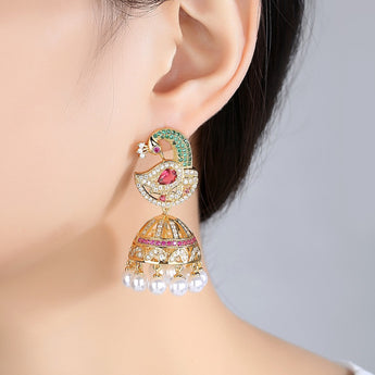 Bridal Ethnic Indian peacock Jhumkas
