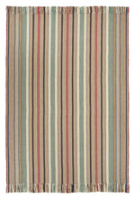 Ardmore #558-A is a bold vertical stripe design featuring tan, burgundy, green, blue and black. This rug is a focal point for any room, shown here in a 4 foot x 6 foot rug with fringed ends.