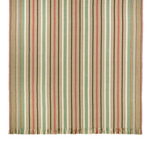 Ardmore #558-A is a bold vertical stripe design featuring tan, burgundy, green, blue and black. This rug is a focal point for any room. Shown here in a 6 foot x 9 foot size with fringed ends.