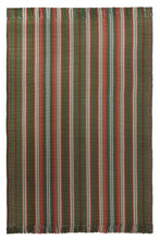 A vertical stripe flat woven rug design with red, rose, mushroom, blue, green, mustard, and brown stripes. Shown here in a 4 foot x 6 foot area rug size with fringed ends.