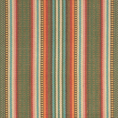 A vertical stripe flat woven rug design with red, rose, mushroom, blue, green, mustard, and brown stripes. Available in runner and area rug sizes.