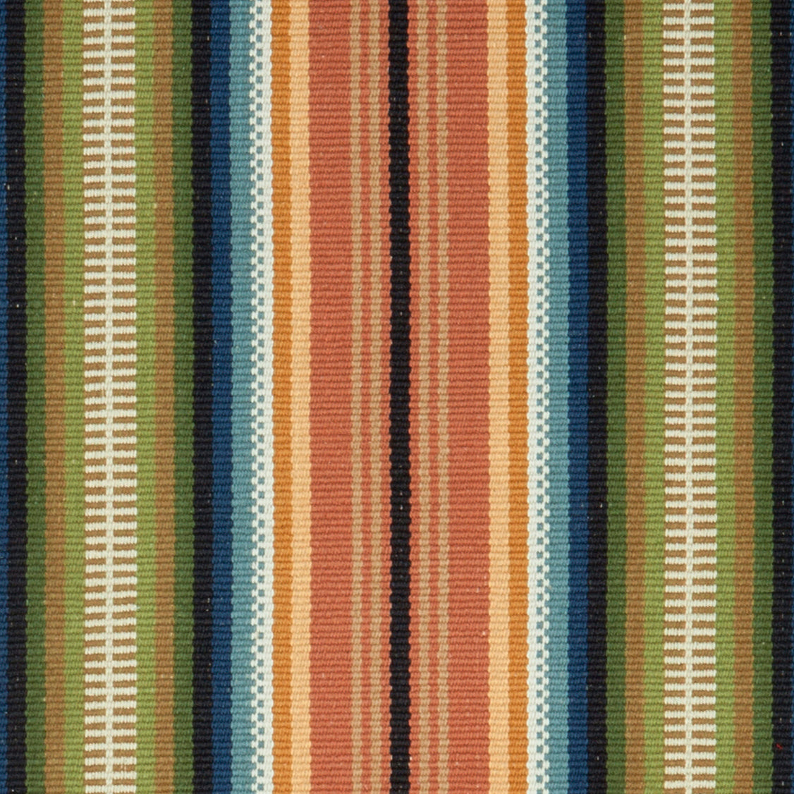 A historic American design offered in two colorways. #51-A is pumpkin, mustard, blue, green, rust, putty and black stripes. Available as a runner and may be seamed to any size.
