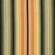 A historic American design offered in two colorways. #51-GR has green, gold, cocoa, mustard, cream and black stripes.