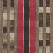 Bold red and black central stripes with natural and charcoal special weave background with red stripes on each edge. This design makes a statement as a stair runner, hall runner or area rug.