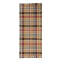 Eaton Square #43-B is a traditional checked pattern in rich, rustic hues of gold, plum, teal, sage and beige with cream lines. Beautiful with fringed or bound ends,. Pictured here in a 30 inch wide runner width.