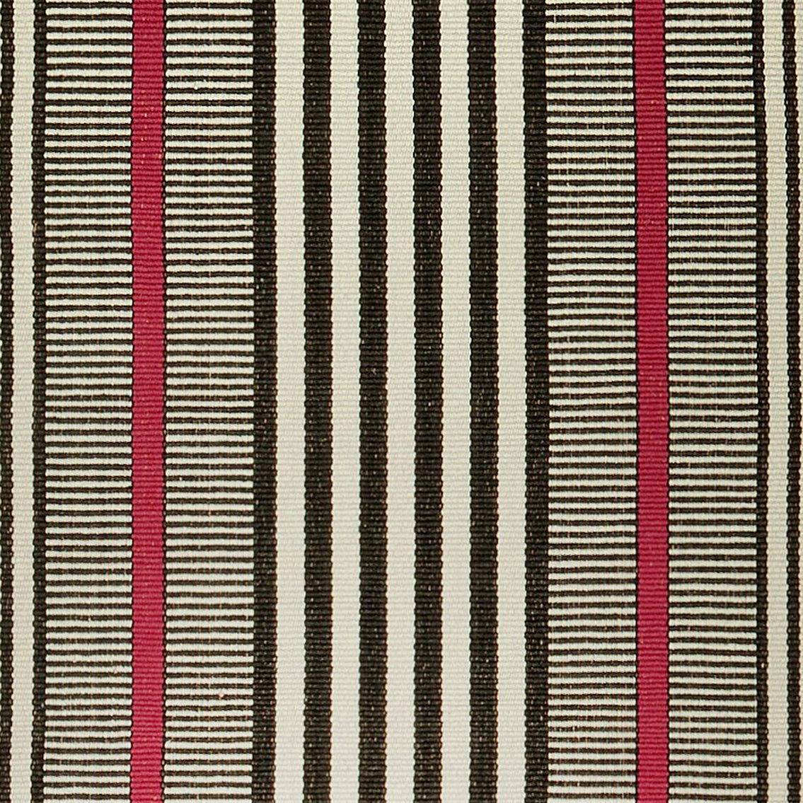 A bold design that is stunning on stairs or as a hall runner. Black and red stripes on a beige background make this a statement piece in any room. Classic and also modern, this design coordinates with any interior decorating style.