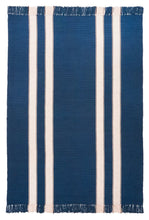 Pennsylvania Bars #21 features a natural stripe on navy blue background. Runners include one wide stripe on each side of the rug, while area rug sizes include two stripes per side. This very traditional design is a classic that never goes out of style.