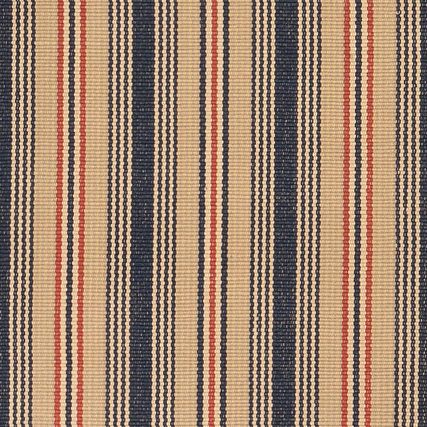 Preston #602 is a traditional vertical stripe design in a muted red, white and blue palette evoking antique Americana. Featuring navy, rust, putty, bisque, light goldenrod and cream stripes. Classical and patriotic, this design is wonderful as a stair runner, hall runner or area rug.