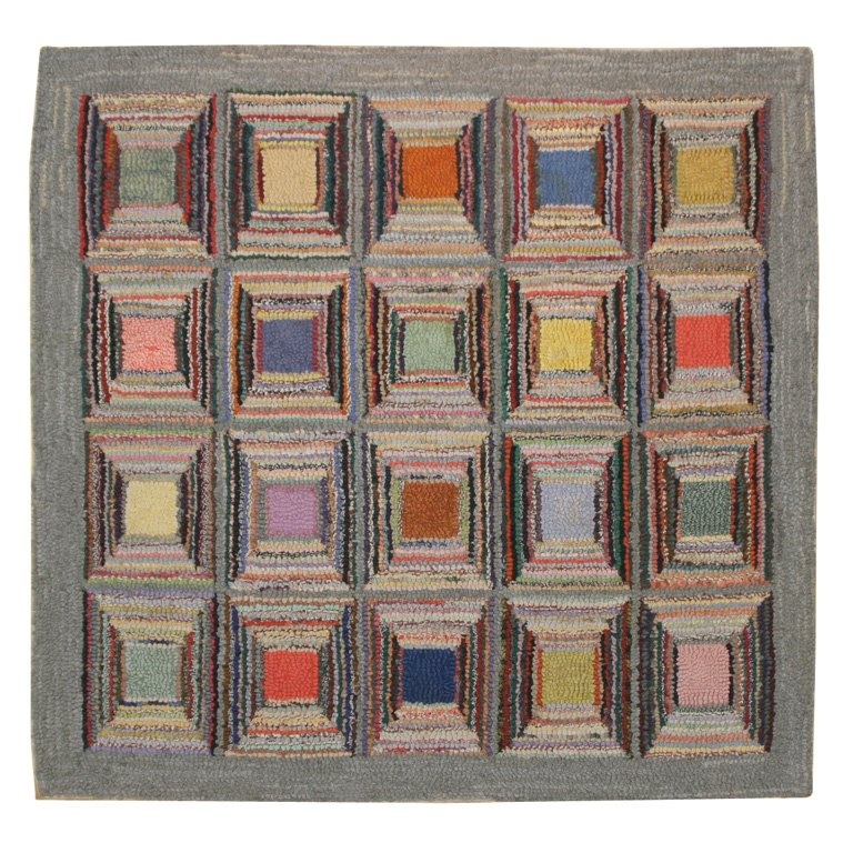 Antique Hooked Rug: Geometric
