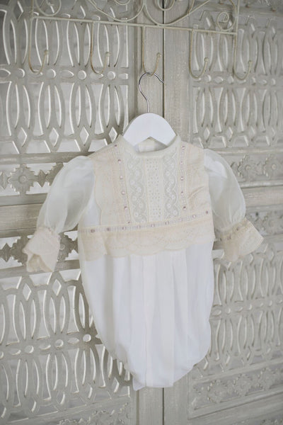 Bonnie Girls Christening Romper, Boys Romper, Bianca Miele London