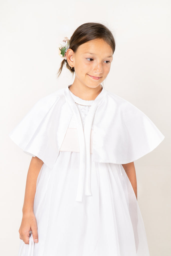 Duchess Satin Communion Cape, , Bianca Miele London