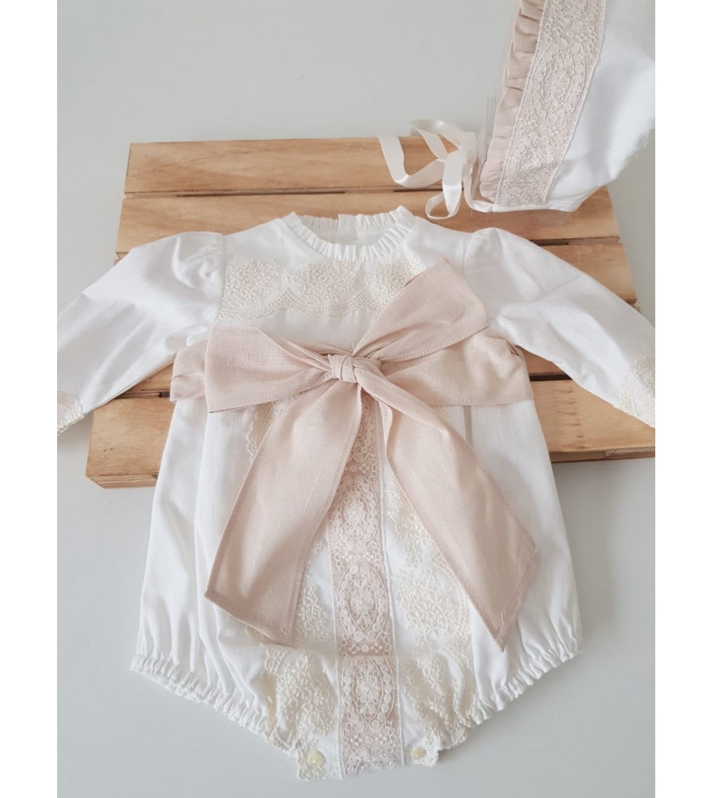 Rose Girls Christening Romper, Boys Romper, Bianca Miele London