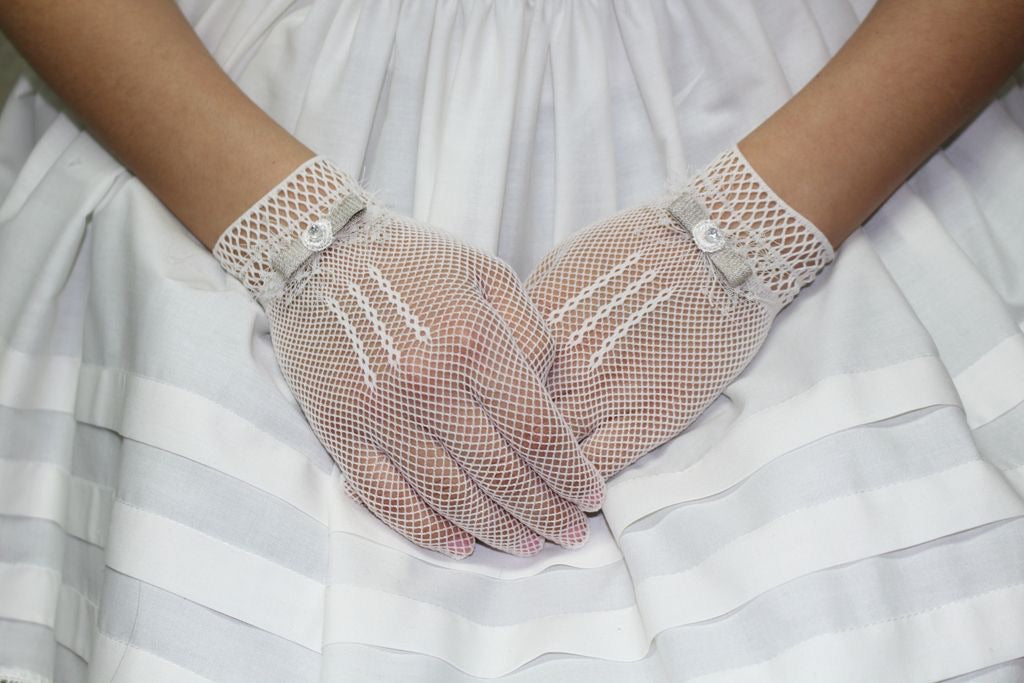 Soft Mesh Communion Gloves with bow embellishment