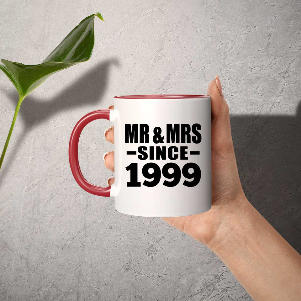 22nd Anniversary Mr & Mrs Since 1999 - 11oz Accent Mug Red