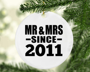 9th Anniversary Mr & Mrs Since 2011 - Circle Ornament