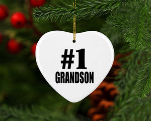 Number One #1 Grandson - Heart Ornament