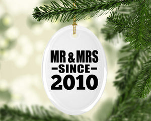 11th Anniversary Mr & Mrs Since 2010 - Oval Ornament