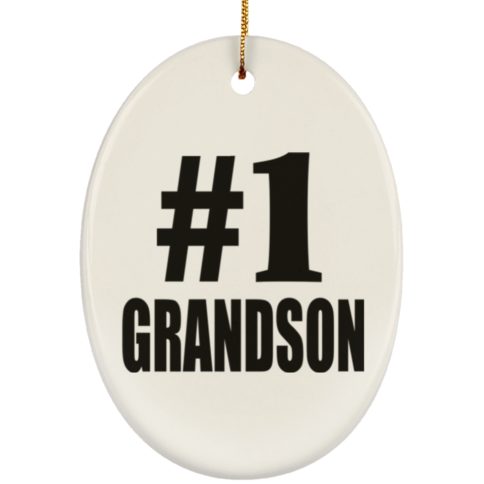 Number One #1 Grandson - Oval Ornament
