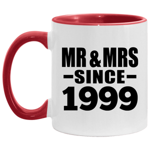 21st Anniversary Mr & Mrs Since 1999 - 11oz Accent Mug Red