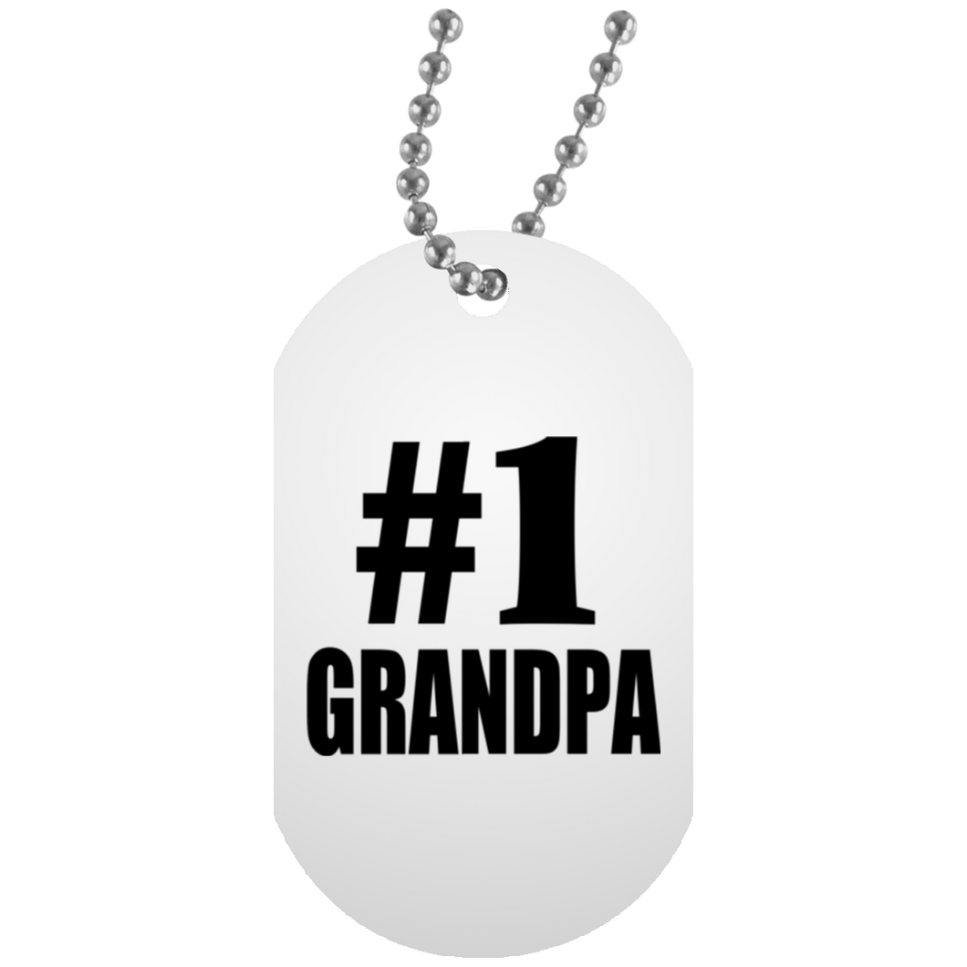 Number One #1 Grandpa - Military Dog Tag
