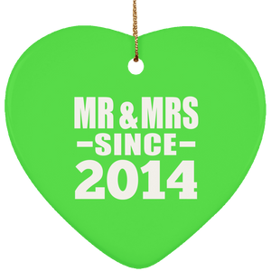 6th Anniversary Mr & Mrs Since 2014 - Heart Ornament