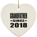 Grandfather Since 2018 - Heart Ornament
