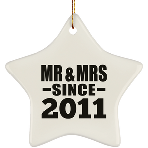 9th Anniversary Mr & Mrs Since 2011 - Star Ornament