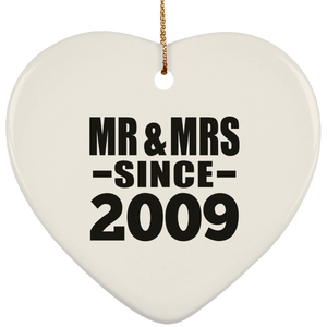 12th Anniversary Mr & Mrs Since 2009 - Heart Ornament