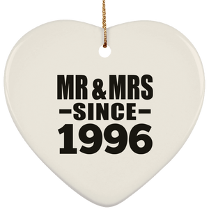 24th Anniversary Mr & Mrs Since 1996 - Heart Ornament